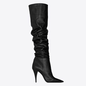 Saint Laurent Tall Slouch Leather Boots 37 YSL